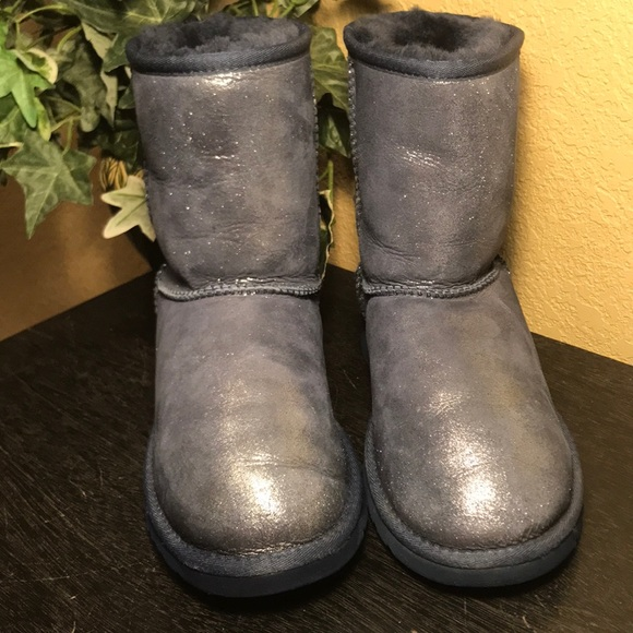 cd1982f1144 UGG Blue Metallic Sparkle Classic Short Boots